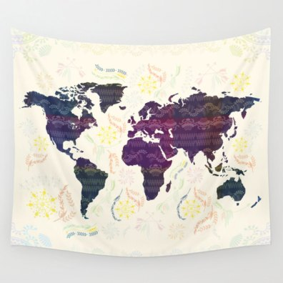 FameNXT World Map Tapestry, $80