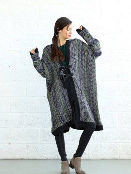 Naftul Knitted Green Poncho