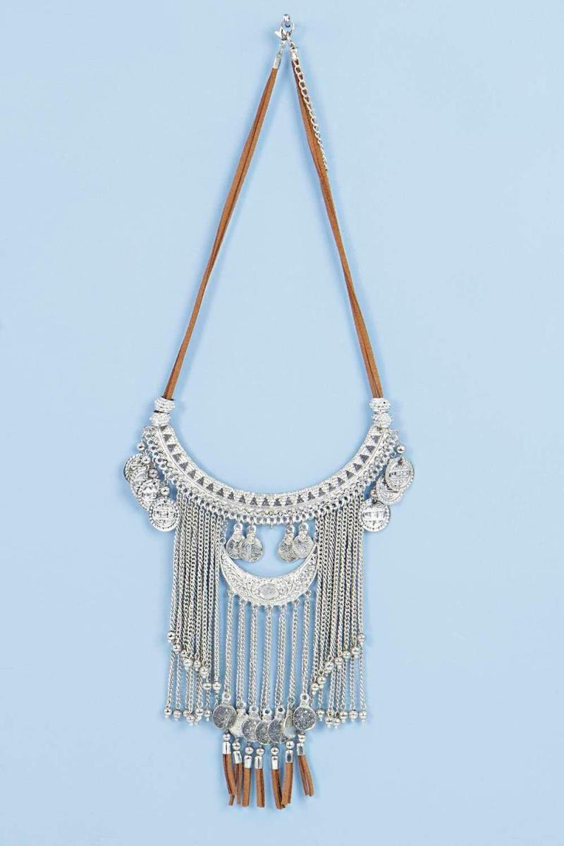 Boohoo Boutique Suedette and Silver Bib Necklace