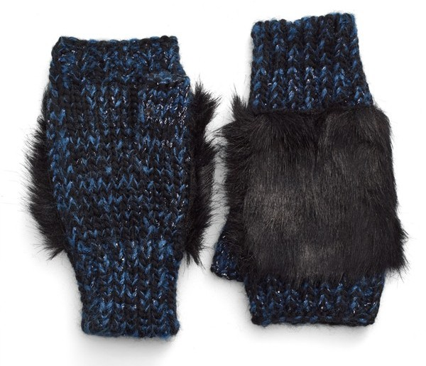 faux fur fingerless gloves blue