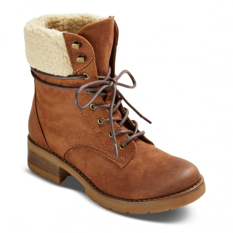 brown shearling combat ankle boots