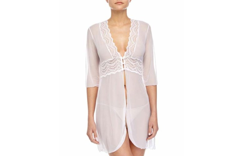 cosabella sheer white nightgown robe