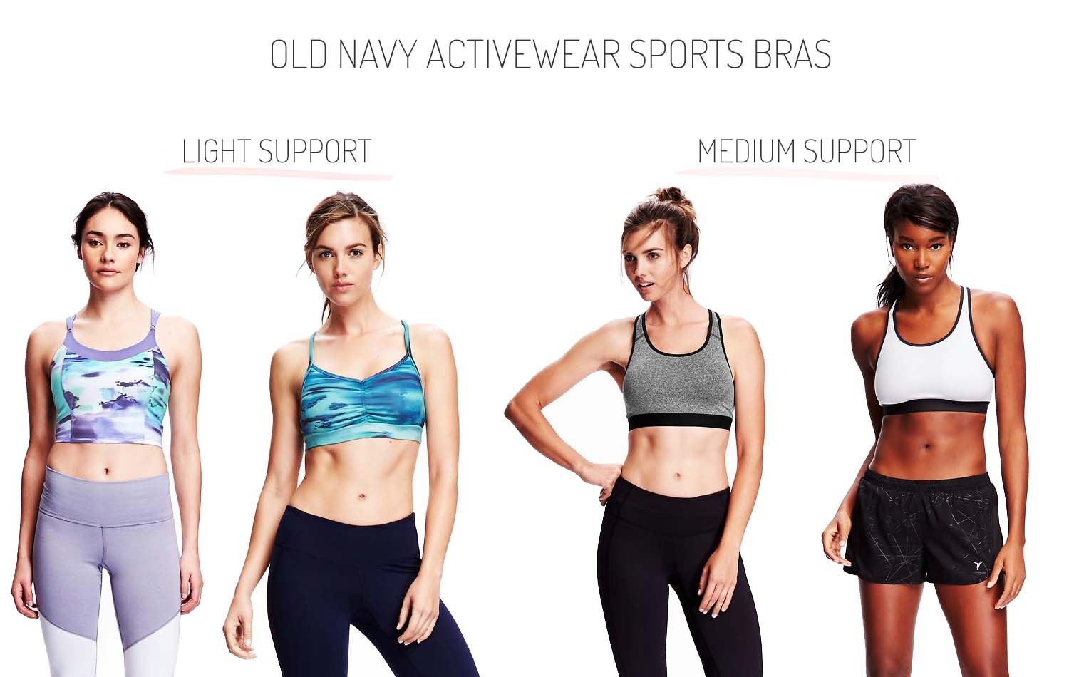 ff318f68d518f Old Navy Activewear Light Support Medium Support Sports Bras