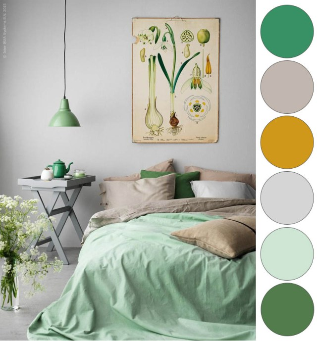 IKEA Green Mustard Grey Bedroom Color Palette