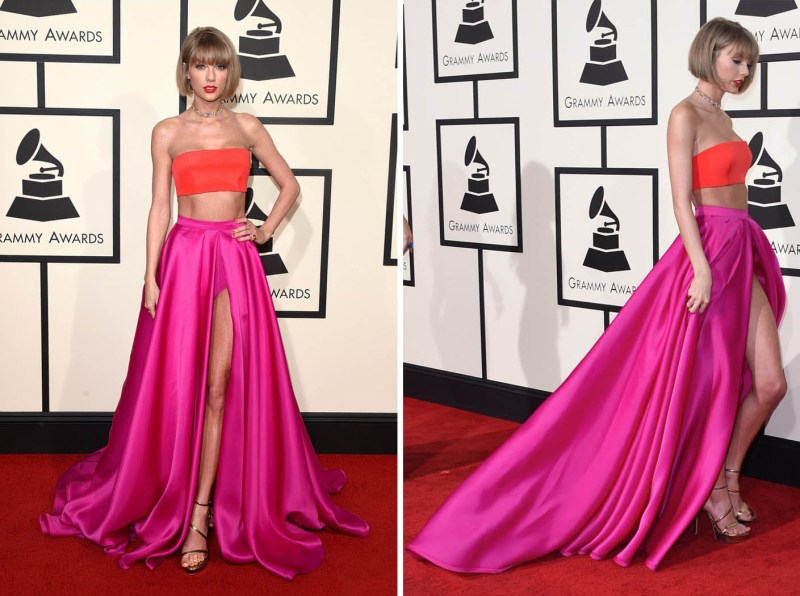 taylor-swift-two-piece-celebrity-prom-dress-impression-grammys-2016-red-carpet