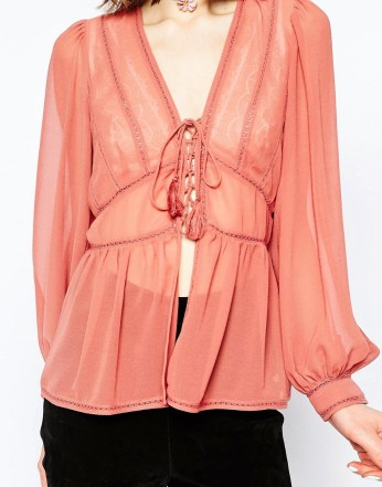 ASOS Ultimate Lace Insert Blouse with Tassels