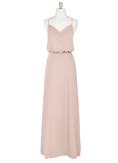 blush pink strappy wedding bridesmaid dress