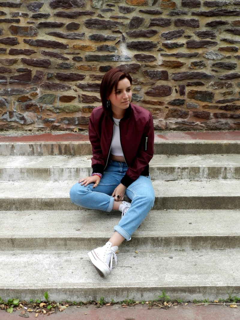converse shoes high tops outfit inspiration bomber jacket jeans blogger style