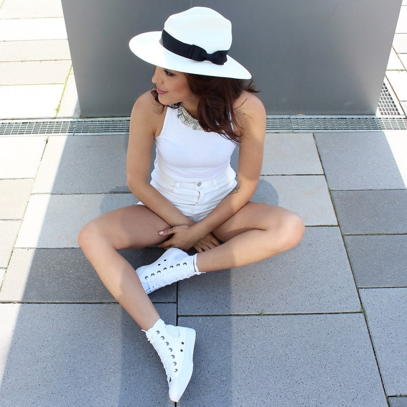 converse shoes high tops outfit inspiration all white hat blogger style