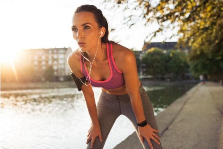 exercise running gear headphones outside