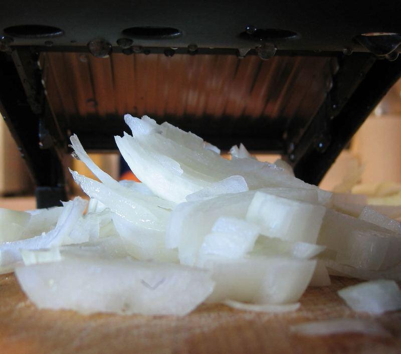 mandoline cutting onions