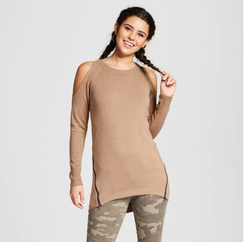 Taret Cold Shoulder Side Zip Pullover Sweater