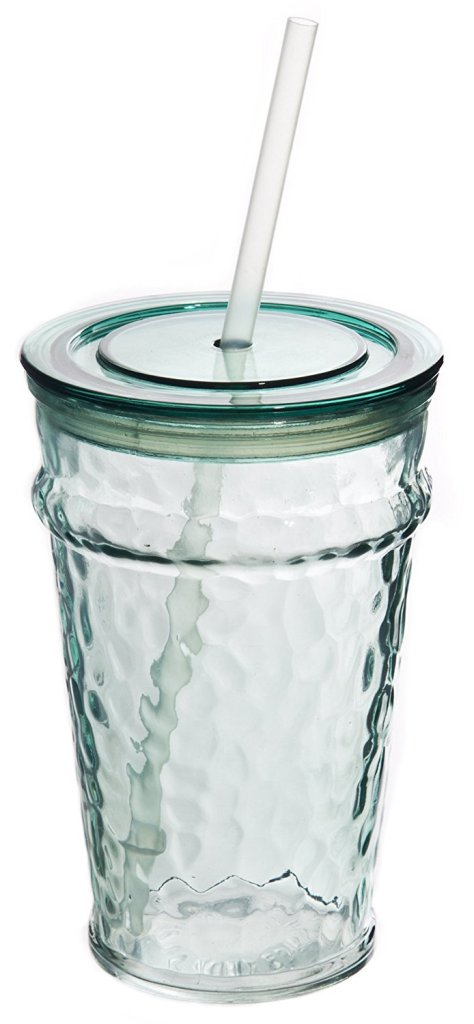 Hammered Recycled Glass Tumbler Travel Cup for Iced Coffee