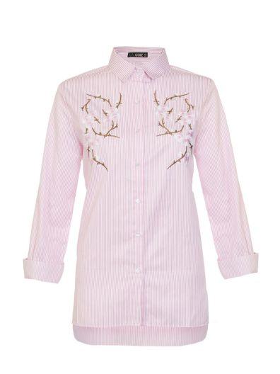 Pink Stripe Embroidered Flower Shirt, $41.48