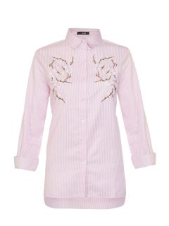 Pink Stripe Embroidered Flower Shirt, $41.48