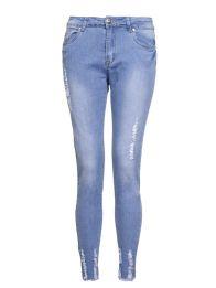 Light Blue Stretch Denim Frayed Jeans, $44.80