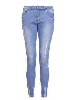 Light Blue Stretch Denim Frayed Jeans, $44.80