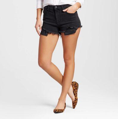 High Rise Black Shorts Raw Edge Pockets
