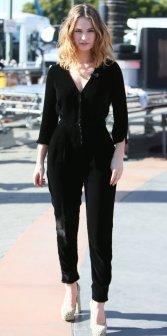 Lily James Velvet Jumpsuit