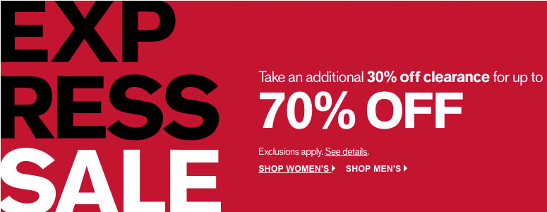 Express: 30% Off of Clearance