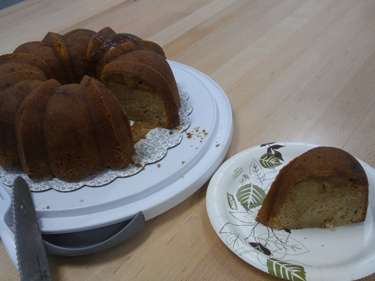 Sliced caramel apple bundt cake