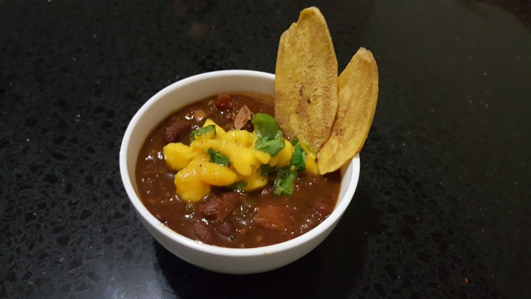 Plated Jerk Chicken Chili