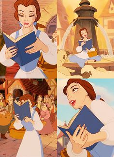 "Belle from ""Beauty and the Beast"" reads every spare moment of her life, even if that means while walking."