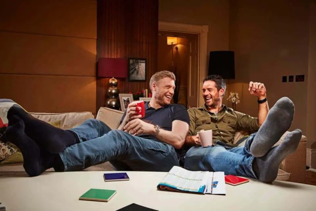 Jamie Redknapp and Freddie Flintoff are seen giving their thoughts on TV shows.