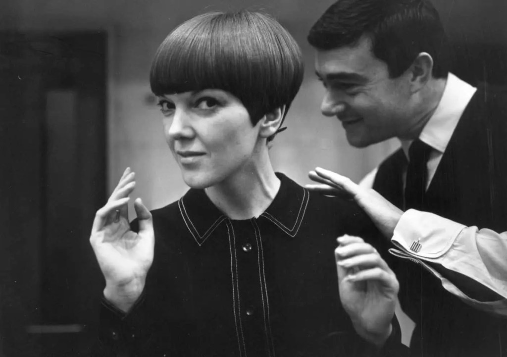 Mary Quant with Vidal Sassoon, photograph by Ronald Dumont, 1964