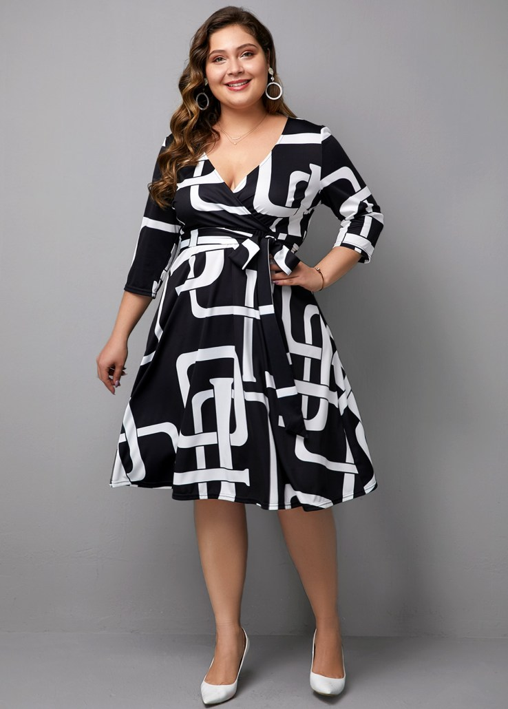 black and white short gown