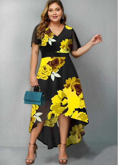yellow flower print long tail gown