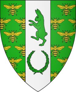 Vert semy of bees Or marked sable, on a pale argent in pale a coney rampant and a laurel wreath vert