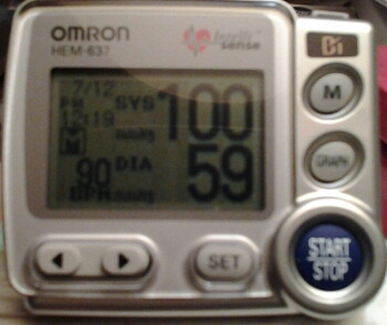 100/59 with a heart rate of 90