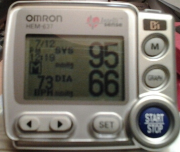 95/66 with a heart rate of 73