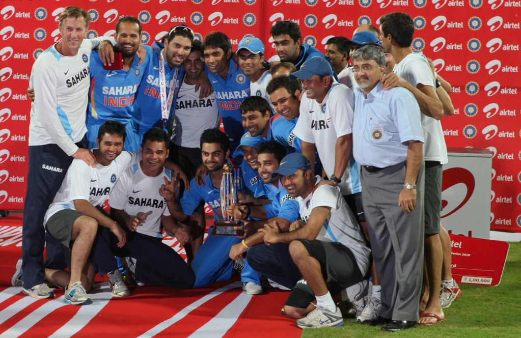 Photo of Indian Cricket Team With a Trophy