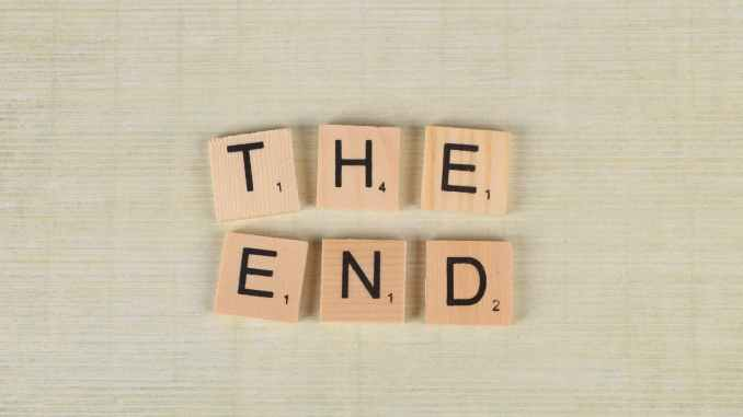 close up of scrabble tiles forming the words the end