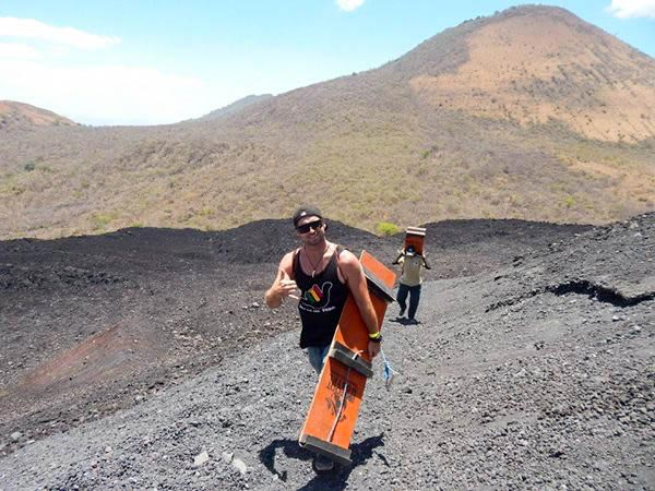 Surfing down an Active Volcano
