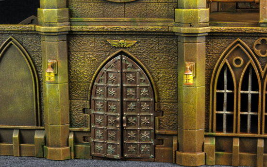 The front door of a Pegasus Gothic Buildings for 40k
