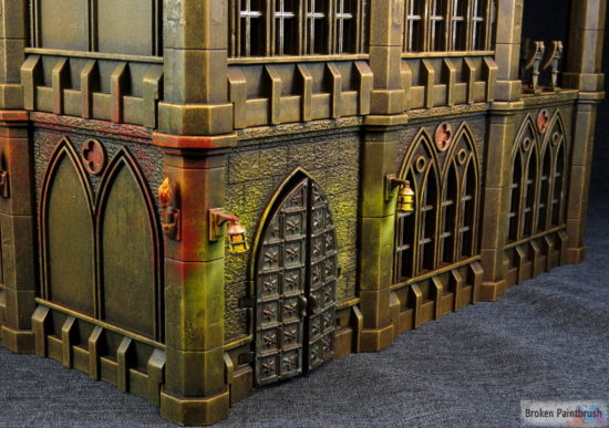 The front detail of Pegasus Gothic Buildings for 40k