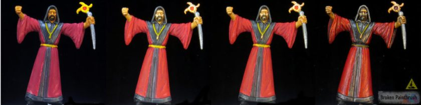 Painting the red robes of the cultists