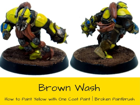 Brown Wash over One Coat Yellow