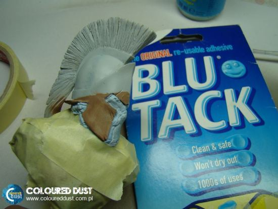 Masking with Blu-Tack for airbrush work