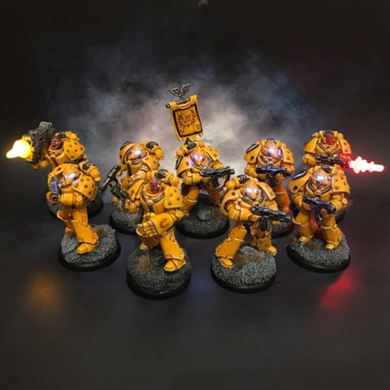 Space Marines with LED effects and lenses