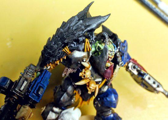 WIP Ork Megaboss Converted Tyranid Skull