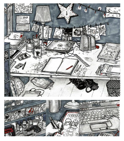 small resolution of art holes is a column where artists diagram their workspaces this issue illustrator and tattoo artist bug cru gives us a look