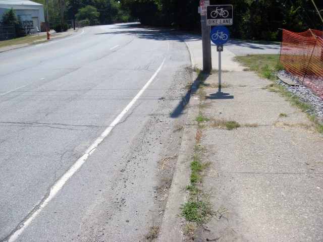 Broken Bike Lane on Spring Street