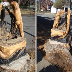 Tree Stump Chairs Covers For Folding Wedding Windstorm Left Giant Lizards In Its Wake  Broken Sidewalk