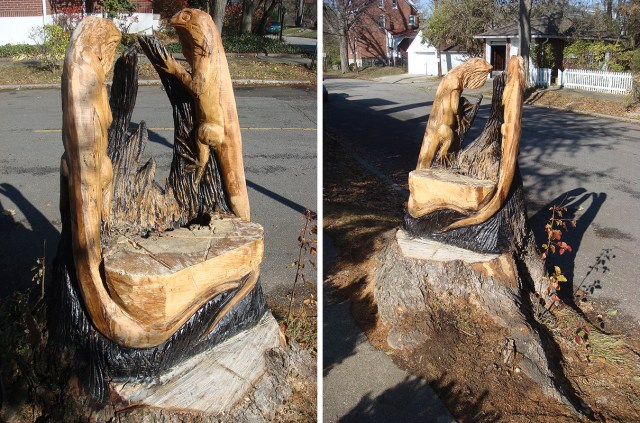 Tree Stump Carved Into a Lizard Chair