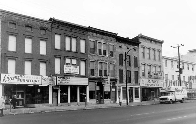 Riney Bedding on East Market Street (circa 1980 via NRHP / NPS)
