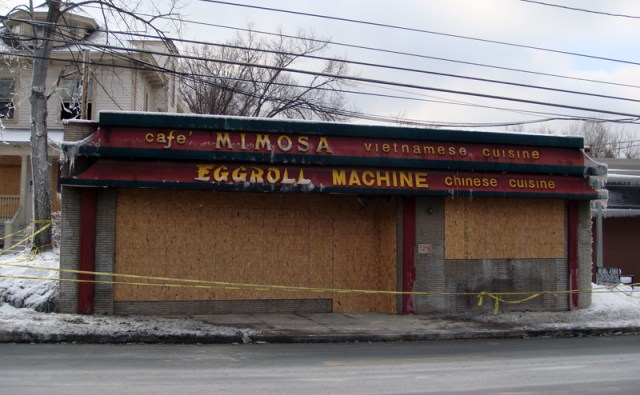 Cafe Mimosa Boarded Up After Fire (BS File Photo)